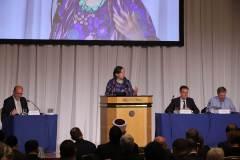 6月7日、非公開の開幕式にて、キャサリン・マーシャルWFDD所長 | June 7th Katherine Marshall, Executive Director, World Faiths Development Dialogue (WFDD) at the opening session, which was closed to the public